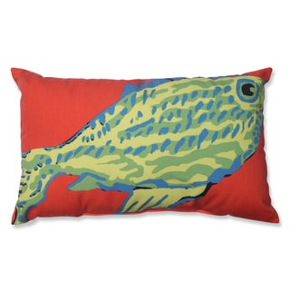 Blue-Green Fish Rectangular Linen Blend Throw Pillow