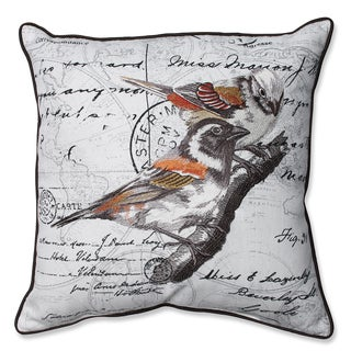 Correspondance Embroidered Birds 16.5-inch Corded Linen Blend Throw Pillow