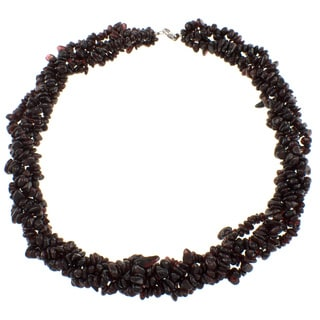 Pearlz Ocean Sterling Silver 4-strand Twisted Garnet Necklace