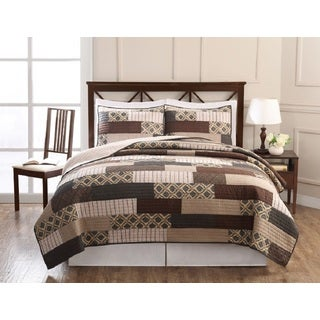 Arcadia Patchwork Cotton 3-piece Quilt Set