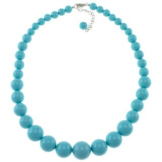 Pearlz Ocean Sterling Silver Turquoise Shell Journey Necklace (8-16 mm)