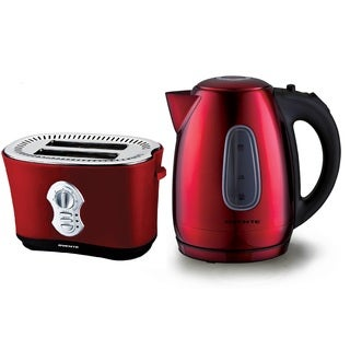 Ovente Metallic Red Stainless Steel Electric Kettle and Two-slice Toaster Combo