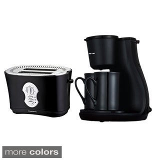 Ovente Two-cup Coffee Maker and Two-slice Toaster Combo