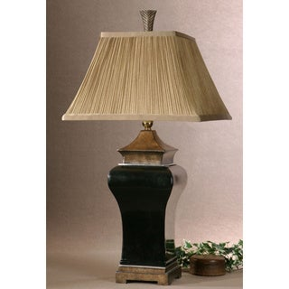 Delmar Textured Ebony Porcelain Table Lamp