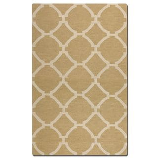 Bermuda Wheat Geometric Pattern Flatweave Wool Rug (8' x 10')