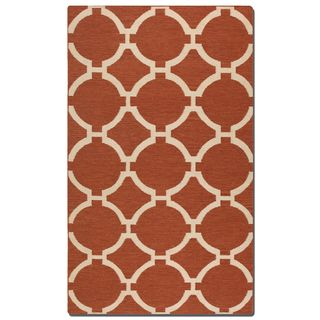 Bermuda Burnt Sienna Geometric Patterned Wool Rug (8' x 10')