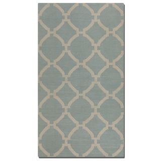 Bermuda Baby Blue Geometric Patterned Wool Rug (8' x 10')