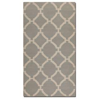 Uttermost Bermuda Grey Geometric Pattern Flatweave Wool Rug (8' X 10')