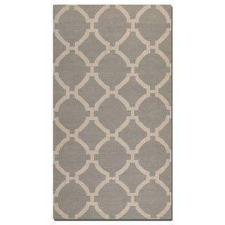 Bermuda Grey Geometric Pattern Flatweave Wool Rug (8' X 10')