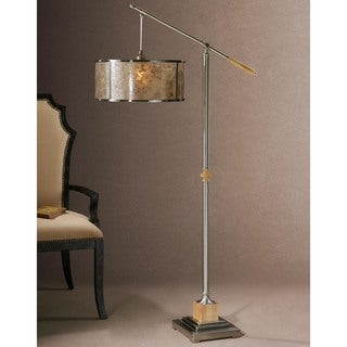 Sitka Brushed Aluminum Metal/ Mica Floor Lamp