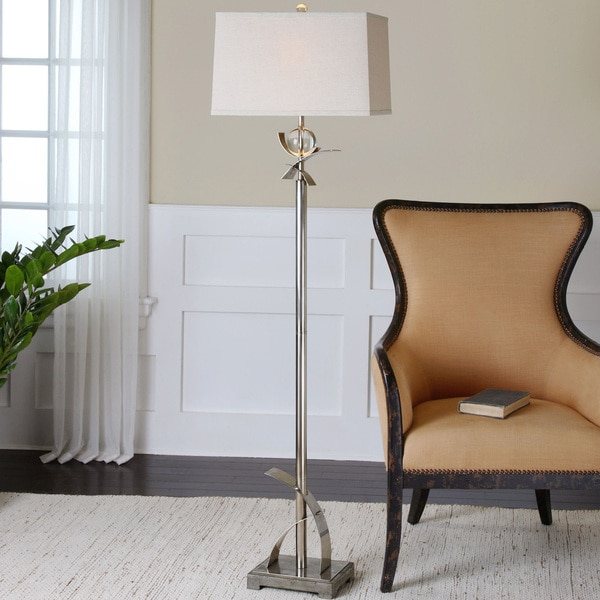 Uttermost Cortlandt Concrete Metal Crystal Floor Lamp