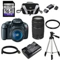 Canon EOS Rebel T3 DSLR Camera Body with 18-55mm IS II and 75-300mm III Lenses 16GB Bundle