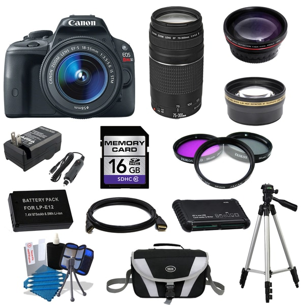Canon EOS Rebel SL1 DSLR Camera Body with 18-55mm IS STM and 75-300mm III Lenses 16GB 15-piece Bundle 13064062