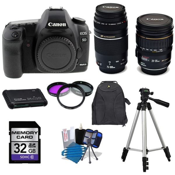 Canon EOS 5D Mark II DLSR Camera Body with 28-135mm IS USM and 75-300mm III USM Lenses 32GB Bundle