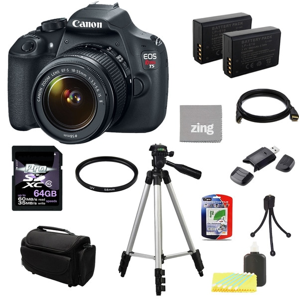 Canon EOS Rebel T5 DSLR Camera Body with EF-S 18-55mm IS II Lens 64GB Bundle 13064067