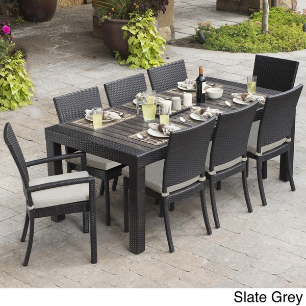 avenue greene 7 piece blue veil aluminum patio furniture dining set