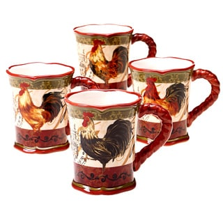 Certified International 16-ounce Assorted Design Tuscan Rooster Mug (Set of 4)