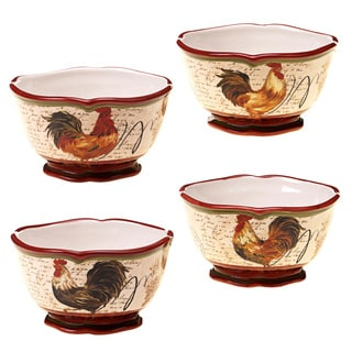 Certified International Assorted 5.5-inch Tuscan Rooster Ice Cream Bowl (Set of 4)