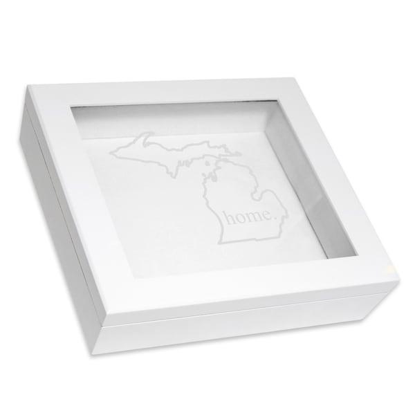 Custom Engraved White Home State Keepsake Box