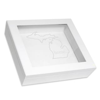 Custom Engraved White Home State Keepsake Box