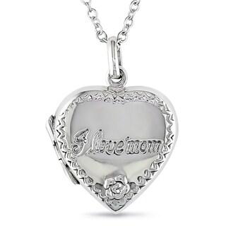 Miadora Sterling Silver Heart Locket I Love Mom Necklace