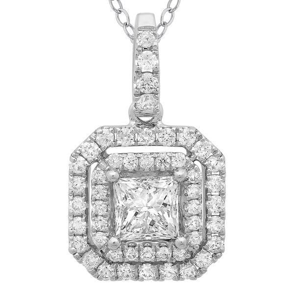 Azaro 14k White Gold 4/5ct TDW Princess-cut Diamond Double Halo Pendant Necklace 13067381