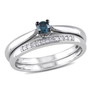 Haylee Jewels Sterling Silver Blue Diamond Bridal Ring Set (H-I, I2-I3)