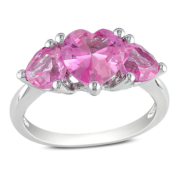 Miadora Sterling Silver Created Pink Sapphire Three-stone Heart Ring