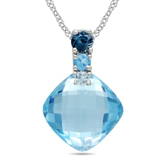 Miadora 10k White Gold 6 1/4ct TGW Blue Topaz Necklace