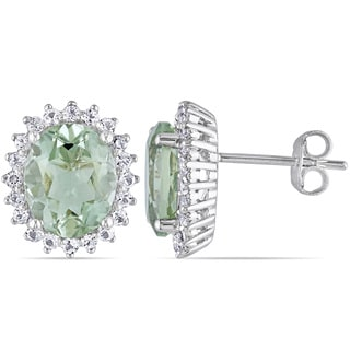 Miadora Sterling Silver 4 7/8ct TGW Green Amethyst and White Topaz Stud Earrings