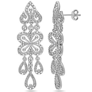Haylee Jewels Sterling Silver Diamond Chandelier Dangle Earrings