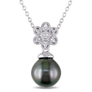 Miadora Sterling Silver Tahitian Pearl and Diamond Necklace