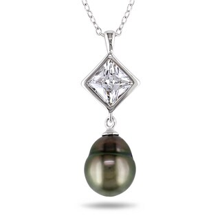 Miadora Sterling Silver Tahitian Pearl and Cubic Zirconia Necklace (9-9.5 mm)