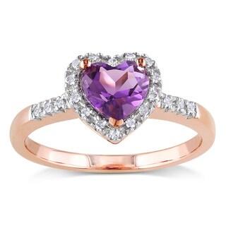 Miadora 10k Rose Gold Amethyst and 1/10ct TDW Diamond Heart Ring (H-I, I2-I3)