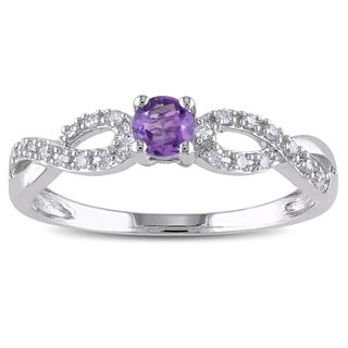 Miadora Sterling Silver Amethyst and 1/10ct TDW Diamond Ring (H-I, I2-I3)