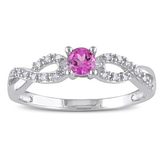 Miadora Sterling Silver Created Pink Sapphire and 1/10ct TDW Diamond Ring (H-I, I2-I3)