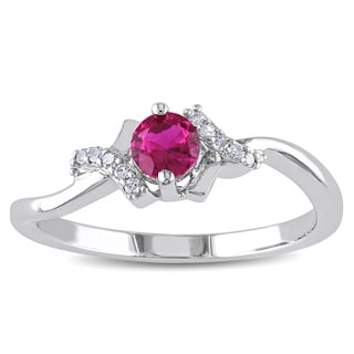 Miadora Sterling Silver Created Ruby and Diamond Accent Ring