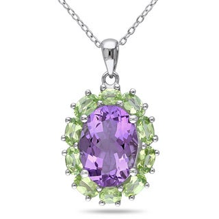 Miadora Sterling Silver 7 1/3ct TGW Amethyst and Peridot Necklace