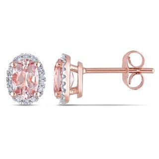 Miadora 10k Rose Gold Morganite and 1/10ct TDW Diamond Halo Earrings (H-I, I2-I3)