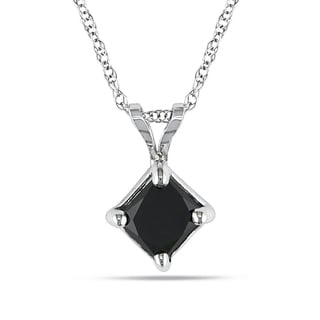 Miadora 10k White Gold 1ct TDW Black Diamond Solitaire Necklace