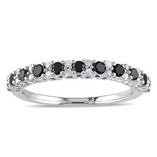 Miadora Sterling Silver 1/2ct TDW Black and White Diamond Semi-Eternity Ring (H-I, I2-I3)