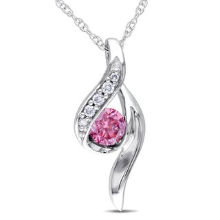 Miadora 10k White Gold 1/4ct TDW Diamond Bypass Necklace (I1-I2)