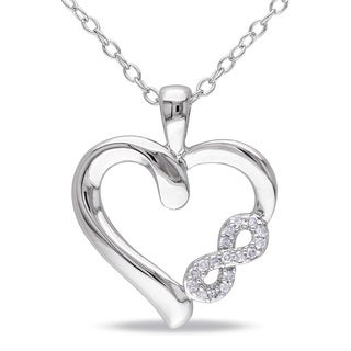 M by Miadora Sterling Silver Diamond Infinity Heart Necklace