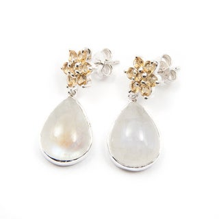 Sterling Silver Sitara Moonstone and Citrine Post Earrings (India)