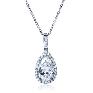 Annello 14k White Gold Certified 2 1/4ct Diamond Pear Shape Pendant Necklace (E-F, I1-I2)