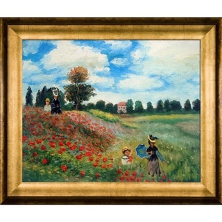 Claude Monet 'Poppy Field in Argenteuil Oil Painting' Hand Painted Framed Canvas Art