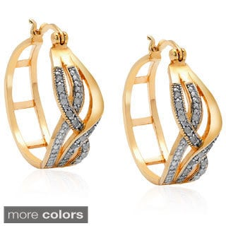 Finesque Silverplated or Gold/Rose 14k Gold Overlay 1/3ct TDW Diamond Hoop Earrings