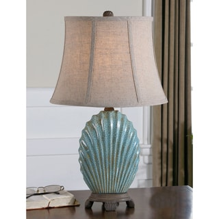 Seashell Resin Ceramic Metal and Fabric Floor Lamp