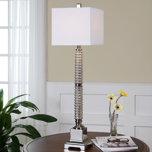 Uttermost Ardex Metal Glass Fabric Floor Lamp