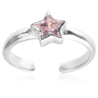 Journee Collection Sterling Silver Cubic Zirconia Star Toe Ring